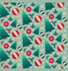 fir tree and decorative toys seamless pattern vector image vector image