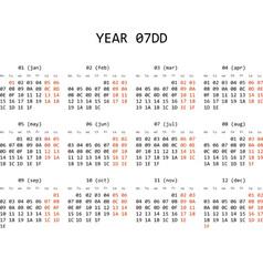 Hexadecimal programming calendar 2013 vector image vector image