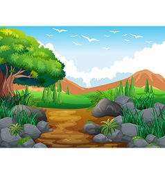 Nature scene with hills and trail vector image vector image