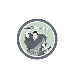 Samurai Warrior Wielding Katana Sword Circle vector image vector image