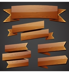Set of wood banners vector image vector image