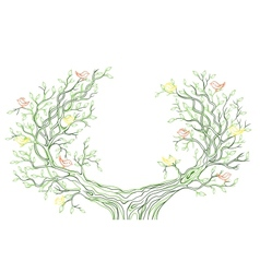 background with green tree branches with birds vector image
