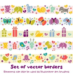 Cute borders with baby icons vector image vector image