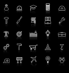 Engineering line icons with reflect on black vector