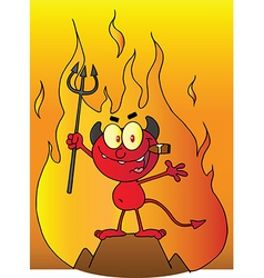 Little Devil Smoking A Cigar In Front Of Flames vector image vector image