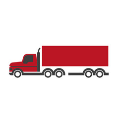 lorry symbol in red and black colors isolated on vector image vector image