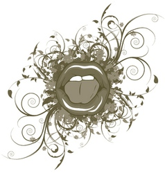 mouth with floral vector image vector image
