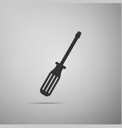 screwdriver flat icon on grey background vector image