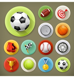 Sport games and leisure long shadow icon set vector image vector image