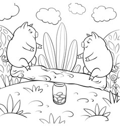 A children coloring bookpage two playing pigs on vector