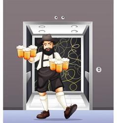 A man with mugs of beer vector image