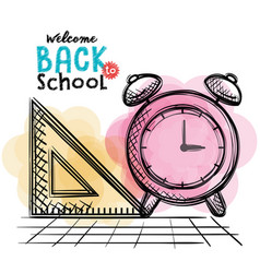Alarm clock and rule back to school drawing vector