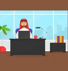 arab businessman sitting at office desk working vector image