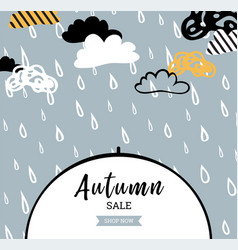 autumn sale background with rain drops vector image