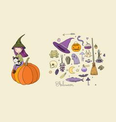 autumn theme halloween little cute girl and a vector image