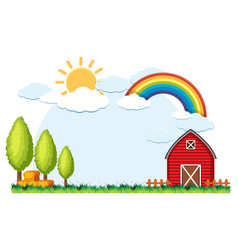 Background scene with red barn and hay vector