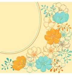 Background with hand drawn stylish flowers vector