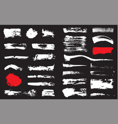 Big set black pen ink brush strokes grunge ink vector