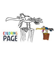 bird cartoon coloring page vector image