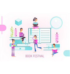 book festival poster vector image