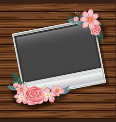 border template with pink roses on wooden wall vector image