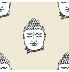 Buddha head pattern seamless tile background vector