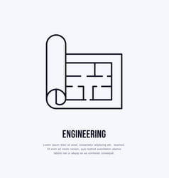 building plan architectural paper engineering vector image