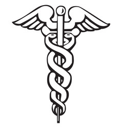 caduceus greek sign or symbol vector image
