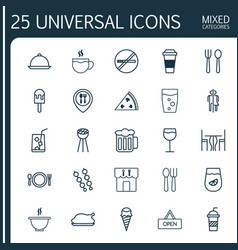 Cafe icons set collection of restaurant food vector