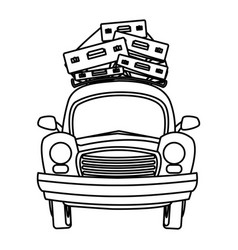 Car tourism travel luggage retro vector