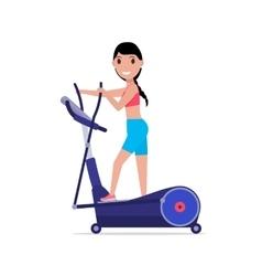 Cartoon girl on elliptical cross trainer vector