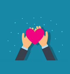 charity and donation concept man give heart vector image