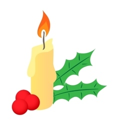 Christmas candle and berries icon cartoon style vector image