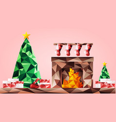 christmas tree with fireplace vector image