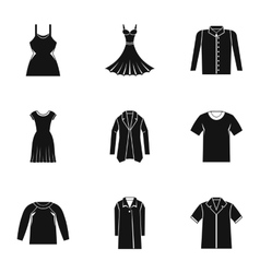 Clothing for body icons set simple style vector