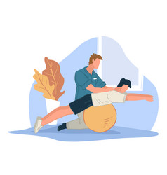 coach helping character to stretch back sports vector image