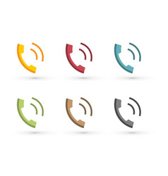 colorful phone icon incoming call vector image