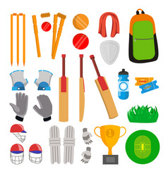 Cricket icons set cricketer accessories vector