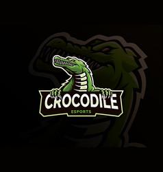crocodile mascot logo design vector image