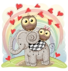 Cute Cartoon Elephant and Two Owls vector