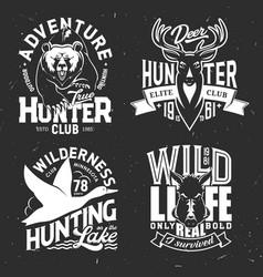 deer duck bear and boar t-shirt print mockup vector image