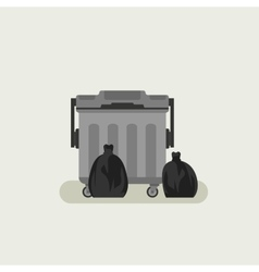 Dumpster with black garbage bags vector image