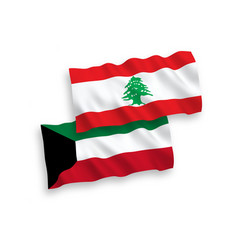 Flags of lebanon and kuwait on a white background vector