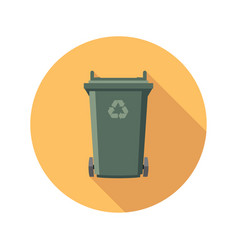Flat recycling wheelie bin icon vector