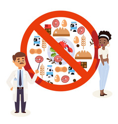 Flat style icons food allergy triggers doctor vector