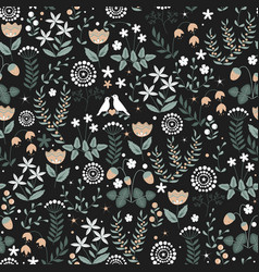 floral seamless pattern with plants vector image