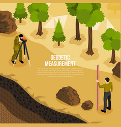 Geologist work isometric composition vector