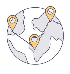 globe with connected location pointers vector image