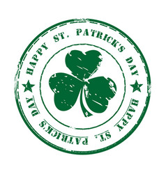 Green grunge rubber stamp happy st patricks day vector
