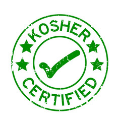 Grunge green kosher certified word with mark icon vector
